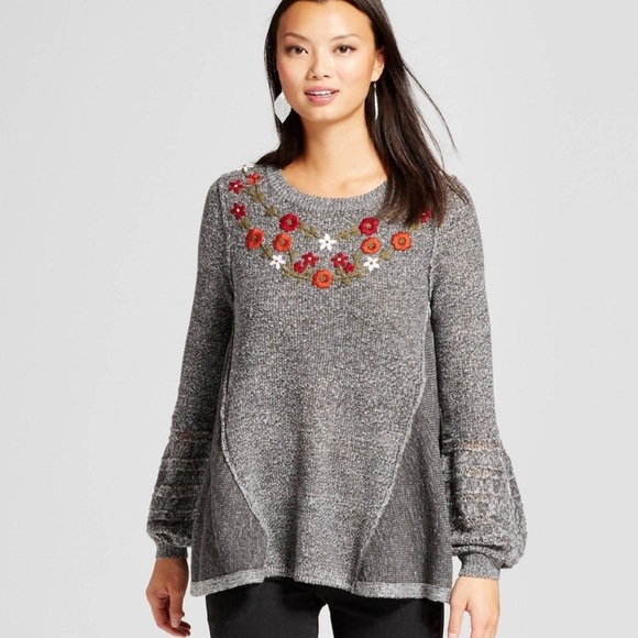 Knox Rose Gray Embroidered Balloon Sleeve Sweater